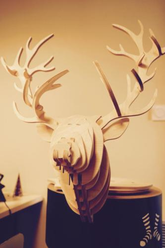 Têtes d'animaux en bois