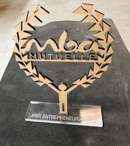 trophée bois plexiglas